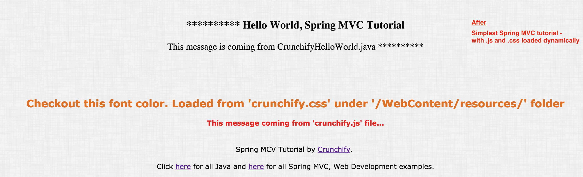 Spring MVC tutorial with JS and CSS loaded dynamically