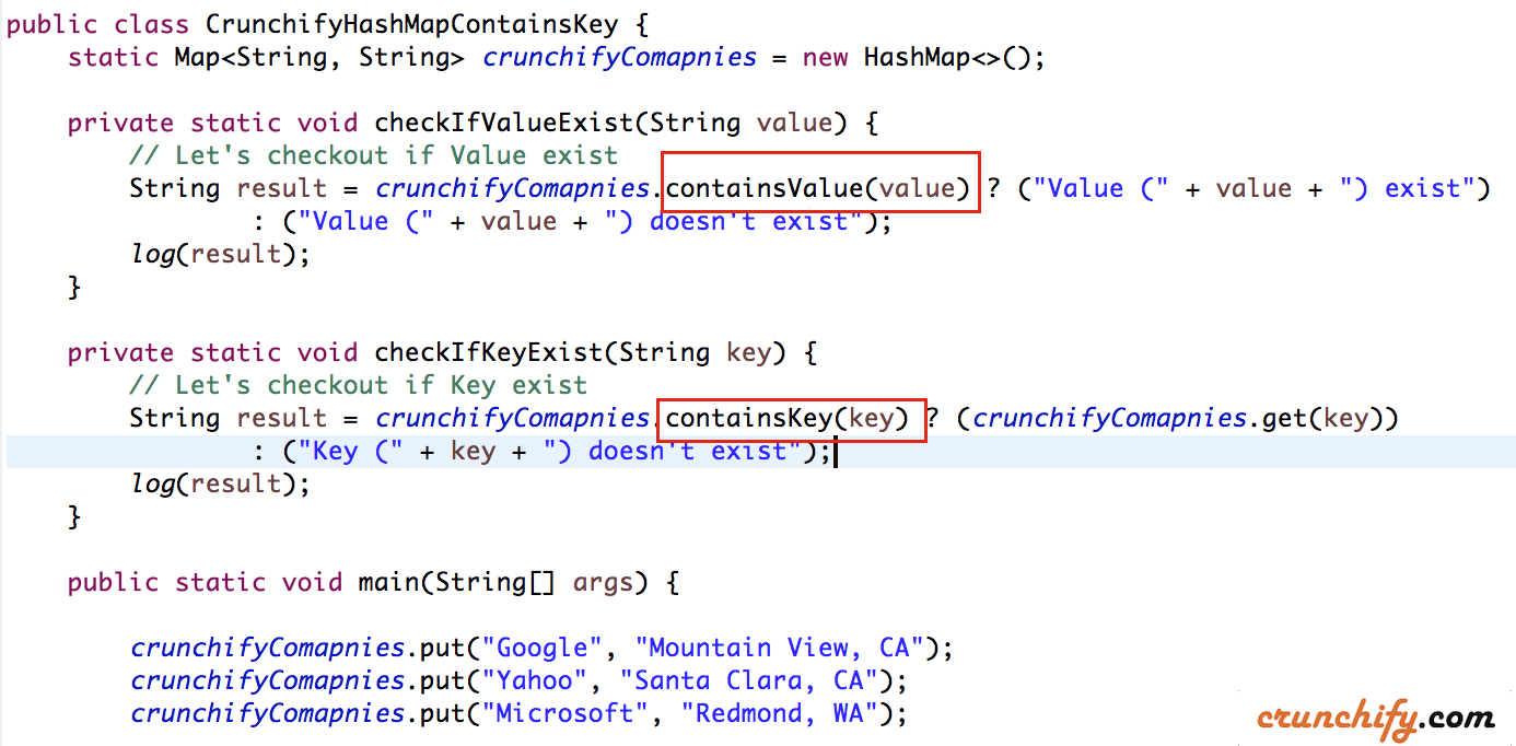 Crunchify Java Hashmap - containsKey and containsValue Example