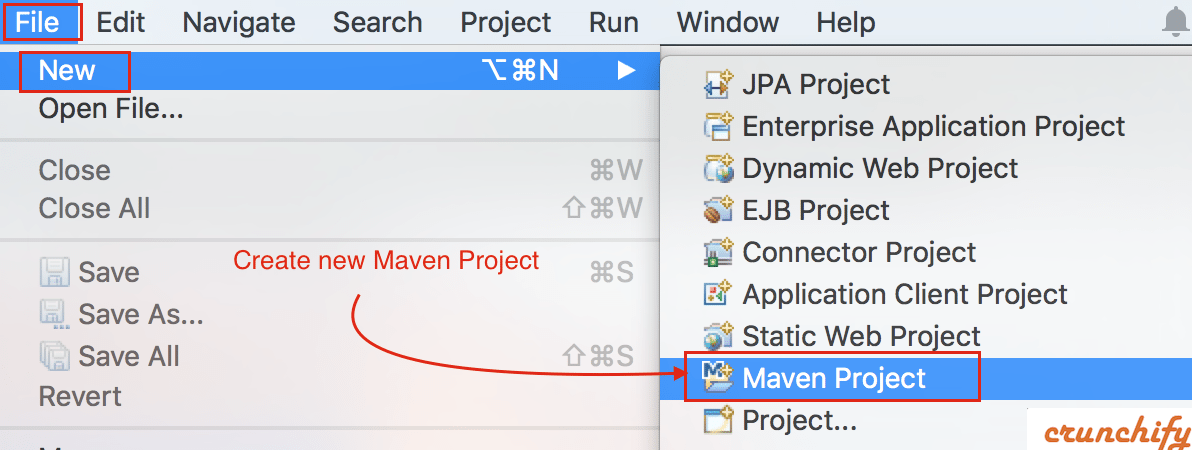Eclipse Create New Maven Project - Crunchify