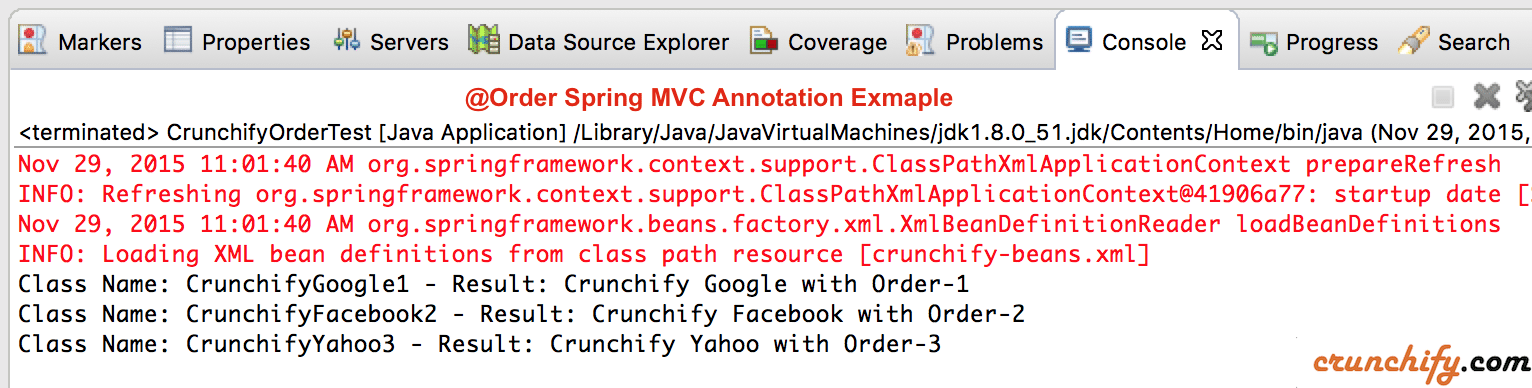 Spring @Order Annotation Example by Crunchify