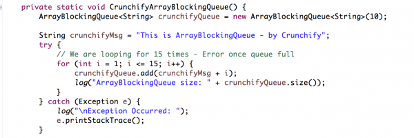 ArrayBlockingQueue Vs. Google Guava Non-Blocking EvictingQueue Example