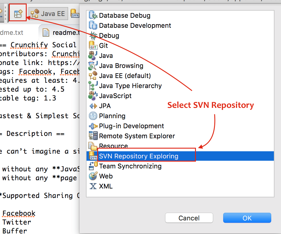 Select SVN Repository Exploring in Eclipse - Crunchify Tips