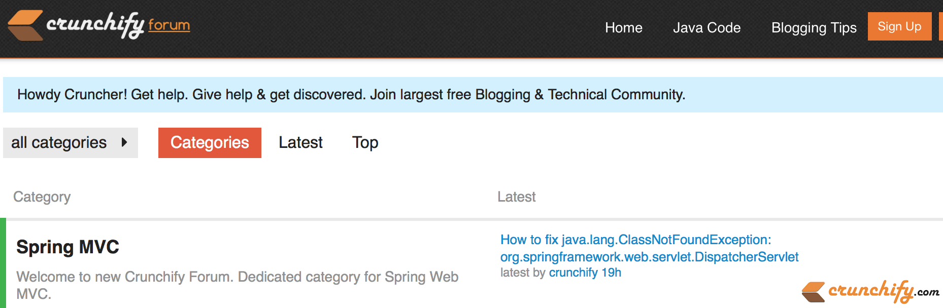 Welcome to forums.crunchify.com Technical and blogging forum