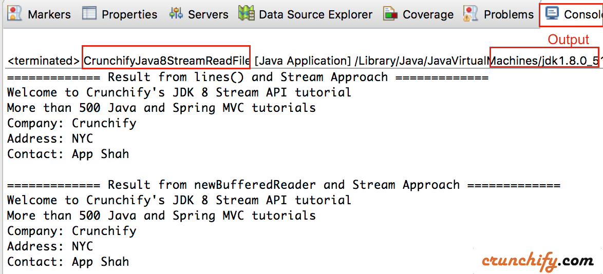 Eclipse Console Ouptut with Java8 Stream File-Line Reader Utility