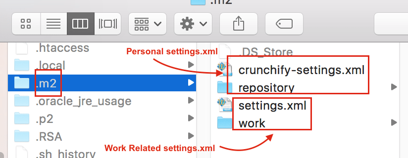 Use Two different settings.xml file - Crunchify Tips