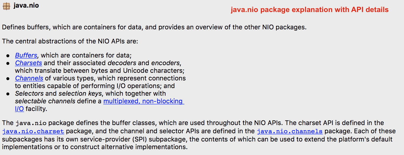 java.nio package explanation with API details