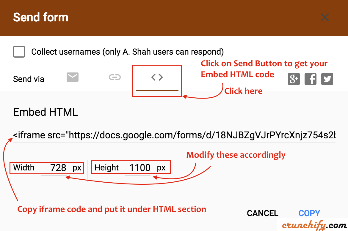 Add Google Form to your WordPress Post:Page