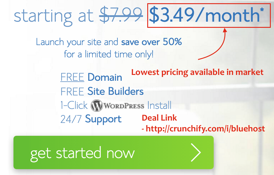 Bluehost Deasl - Register for Bluehost with 3.49 per month price - Crunchify