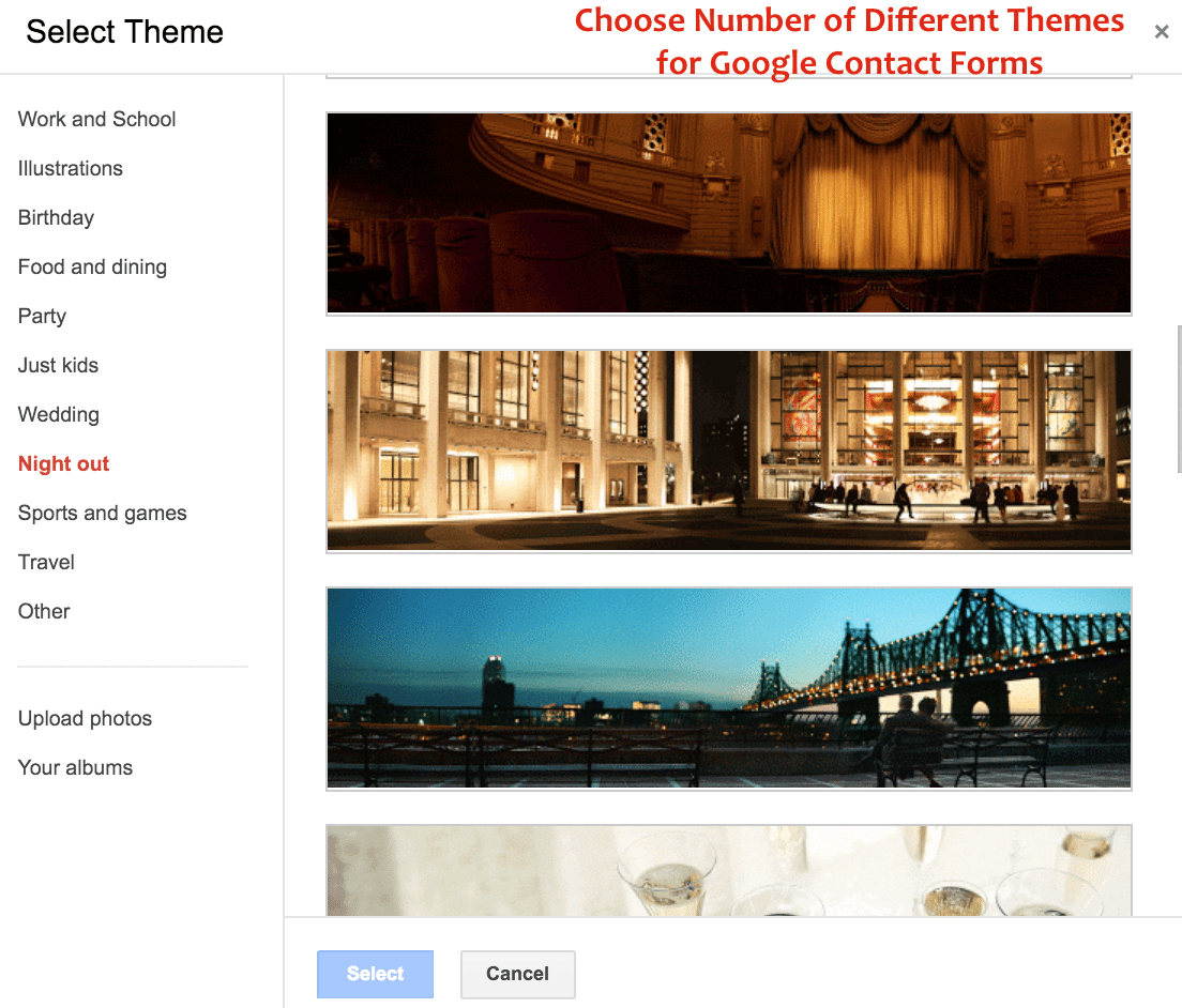 Choose Number of Different Themes for Google Contact Forms - Crunchify