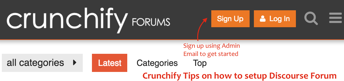 Click on Sign up button to register Admin Account on Discourse Forum - Crunchify tips