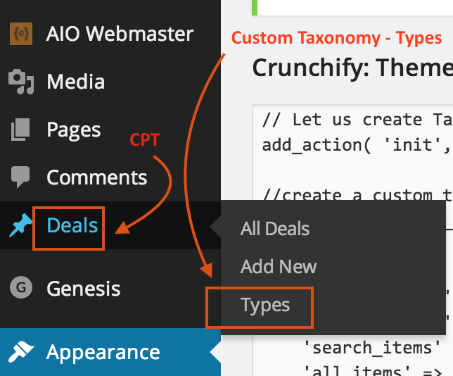 Create New Custom Taxonomy - Crunchify Tips