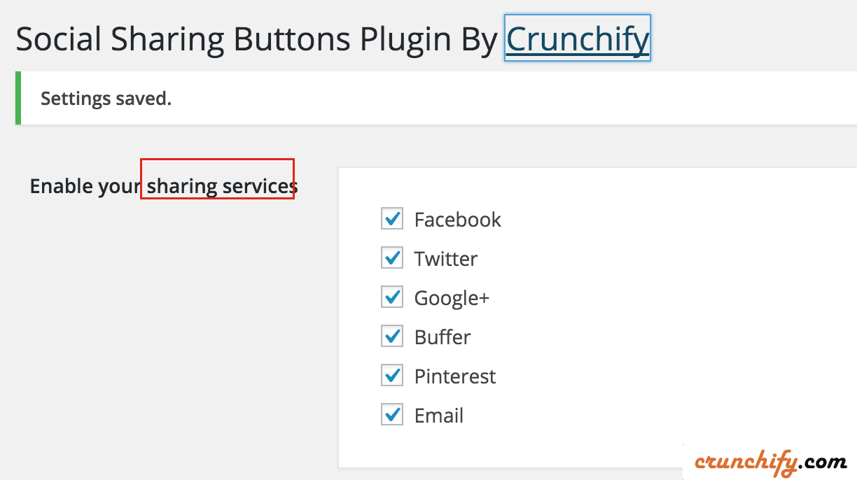 Crunchify Social Sharing Different Sharing Options