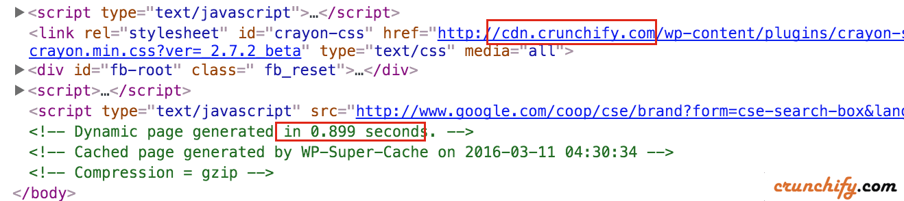 Crunchify.com Page loads in less than seconds