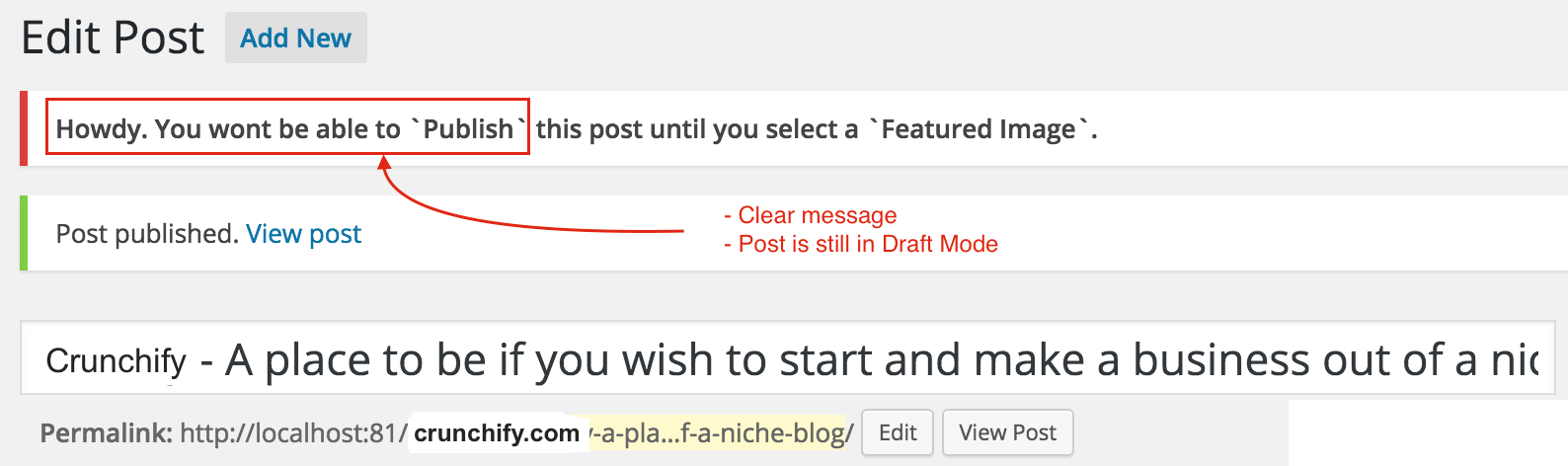 Dont allow to publish post without Featured image on Crunchify