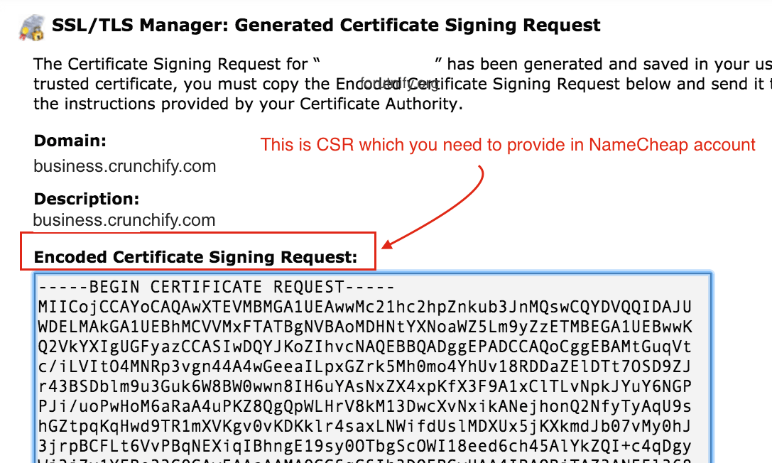 Encoded Certificate Signing Request Crunchify