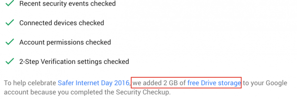 Get 2GB Free Google Drive storage by completing Security Checkup