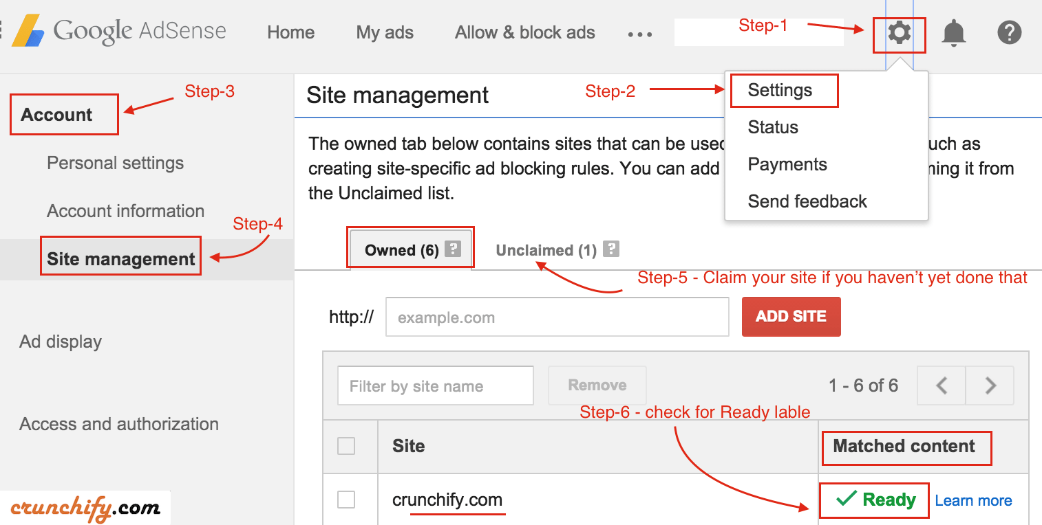 Google Adsense Site Management Option - Crunchify Tips
