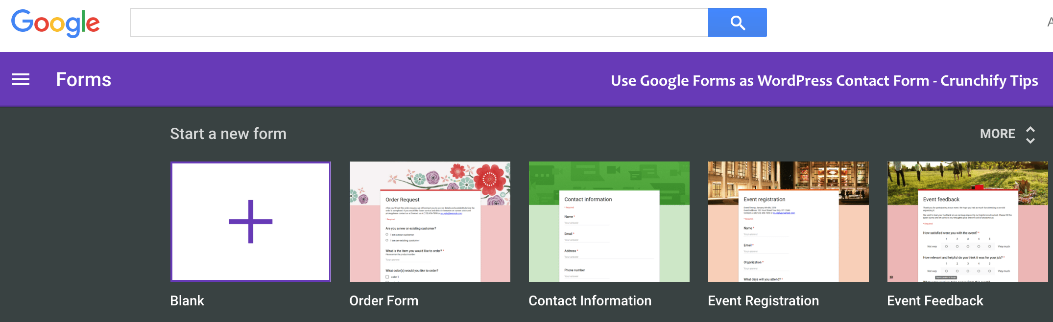 Google Contact Form - Crunchify Tips