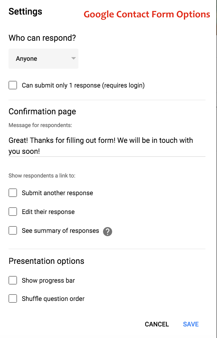 Google Contact Form Options