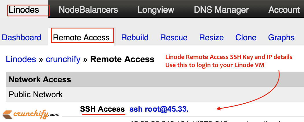 Linode Remote Access SSH Key and IP details - Crunchify Tip