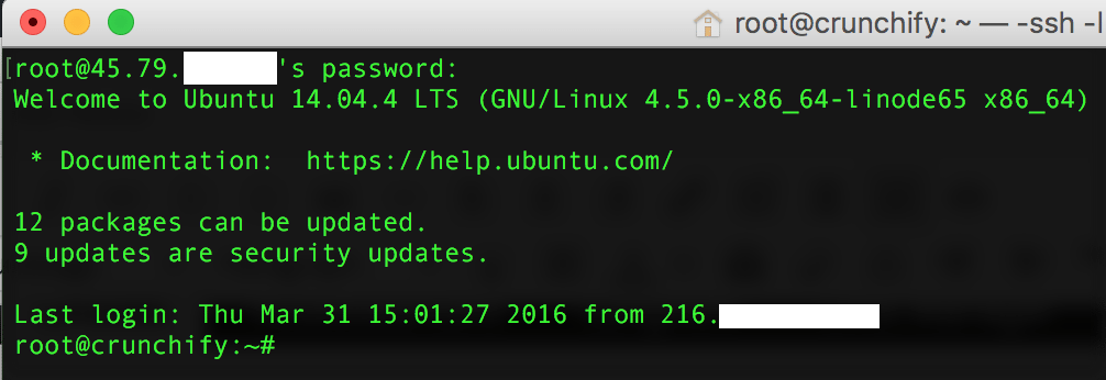 Login to Linode VM using SSH - Mac OS X terminal - Crunchify Tips