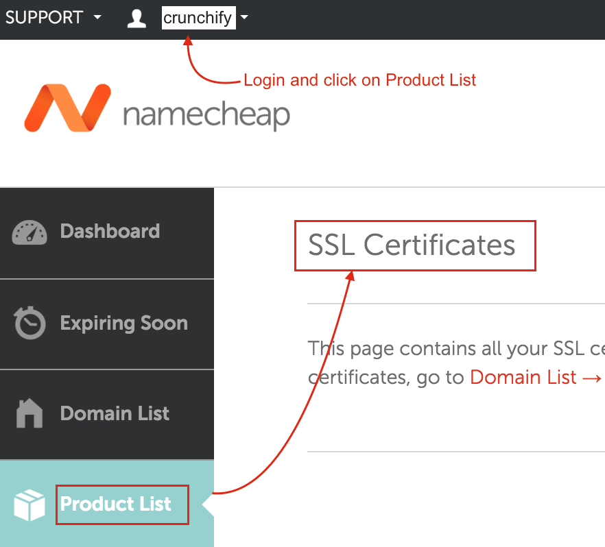 Login to Namecheap Account and check SSL cert