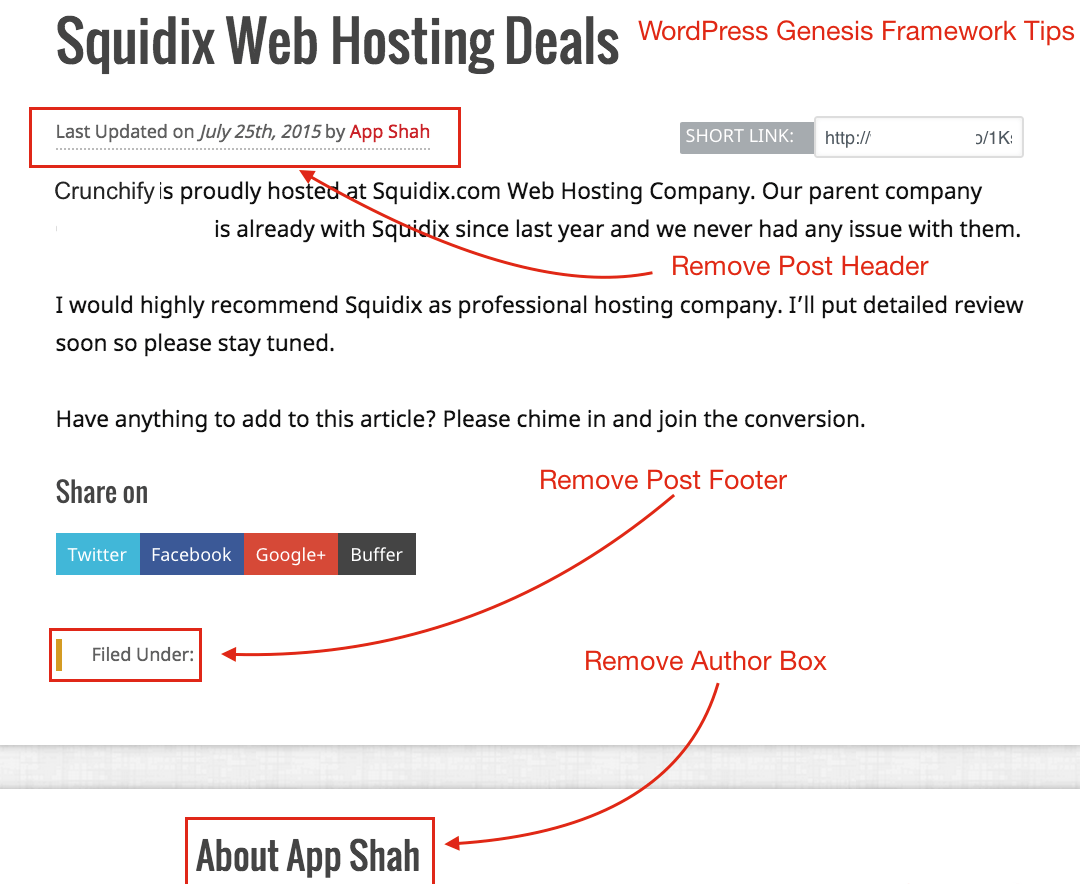 Remove Genesis Framework Post Meta header footer and author box - Crunchify Tips
