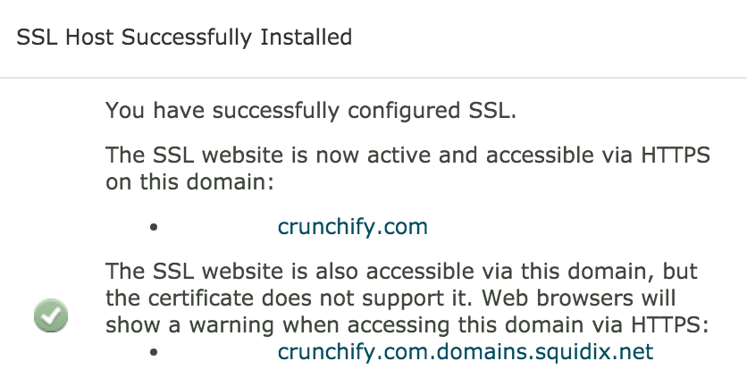 SSL Certificate Installed successfully on Crunchify