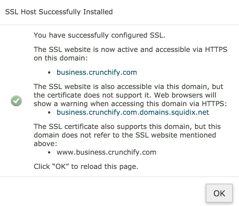 SSL Certificate Installed successfully on business.crunchify.com