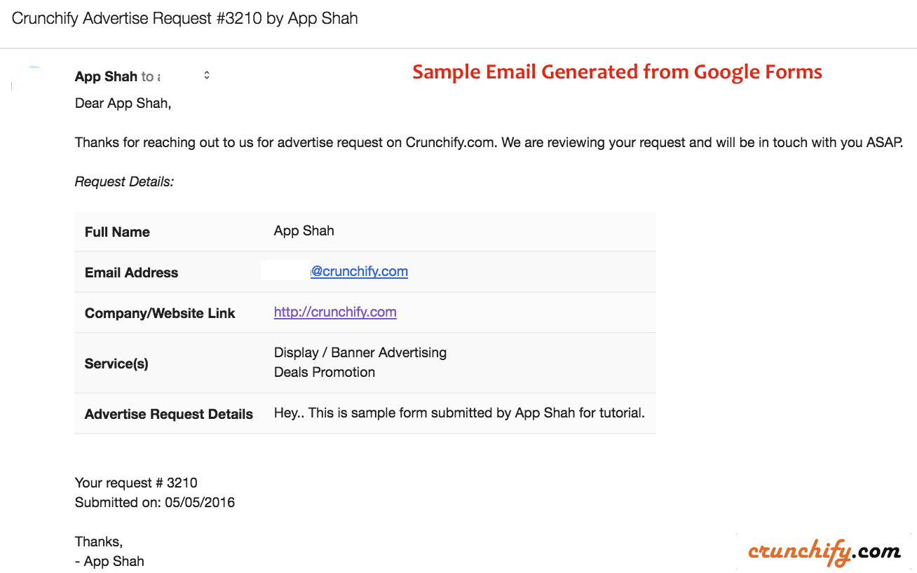Sample Email Generated from Google Forms - Crunchify Tips