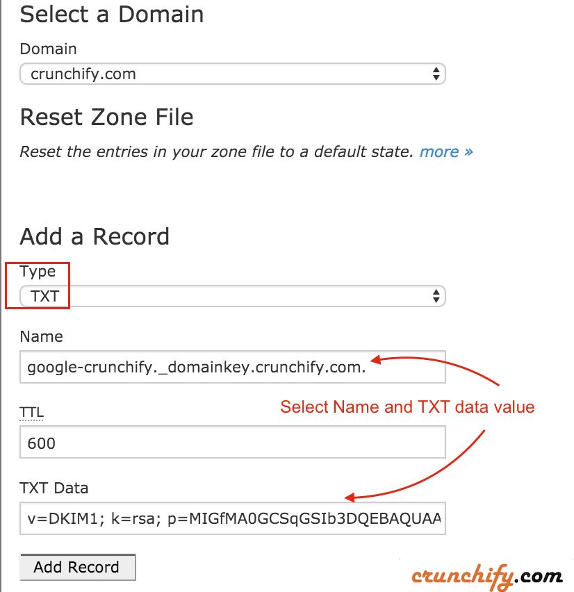 Select Domain and Setup DKIM TXT records