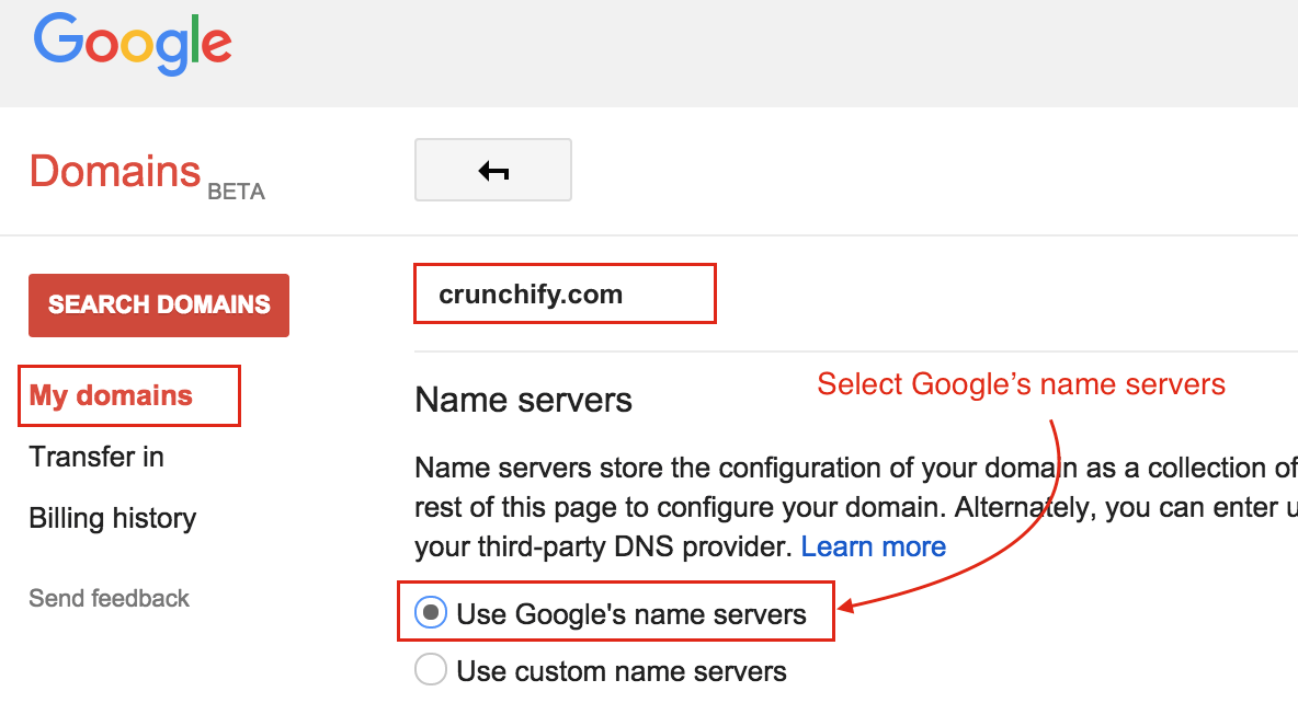 Select Google Name Servers in Google Domains