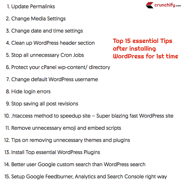 Top 15 essential Tips after installing WordPress for 1st time