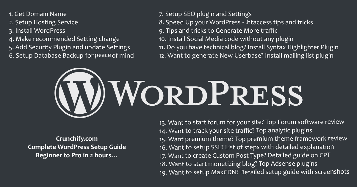 WordPress 101 - Beginner to Pro in 2 hours - Crunchify Tips