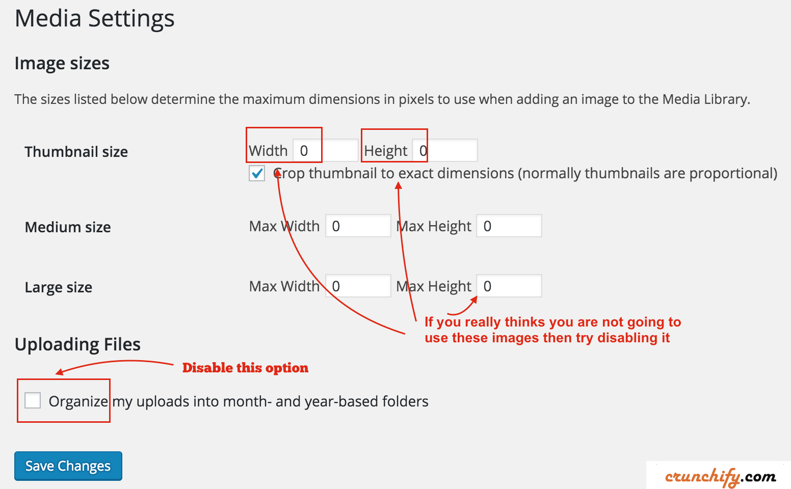 WordPress Media Setting Disable uploading into month year based folders