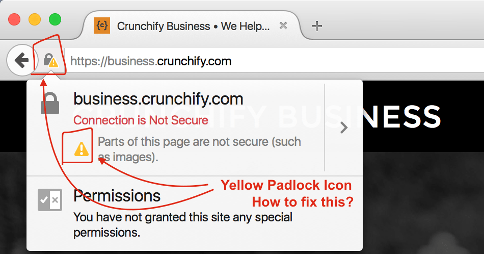 Yellow Pad Lock Icon in Browser URL - WordPress blog - Crunchify Tips