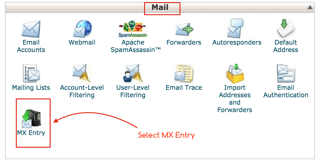 cPanel Select MX Entry from Mail Panel - Tips by Crunchify