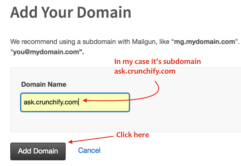 Add your domain to Mailgun Admin Panel