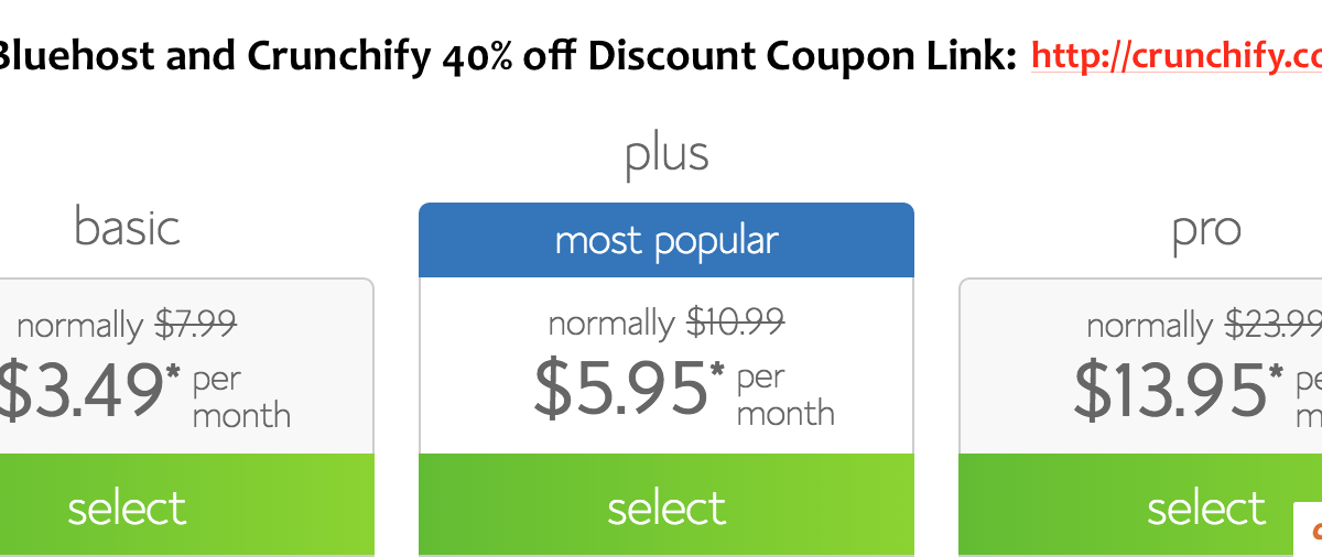 Bluehost Hosting Review: Crunchify Exclusive 40% off on Hosting Plan Coupon Link