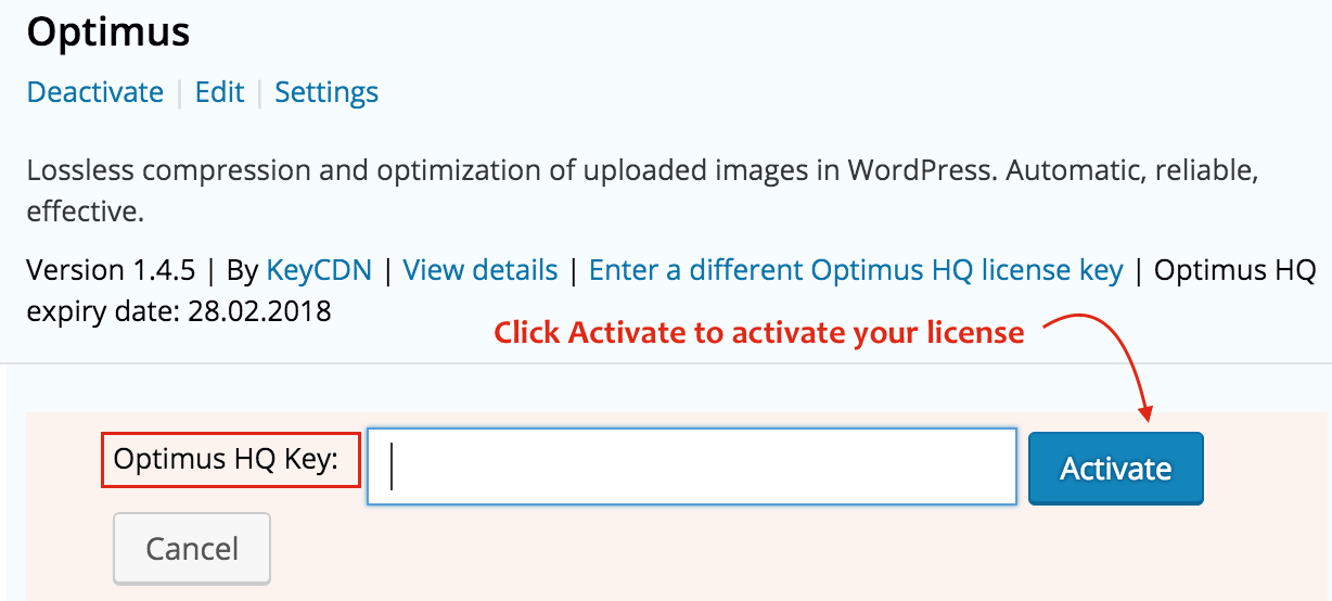 Get and activate Optimus HQ on WordPress site