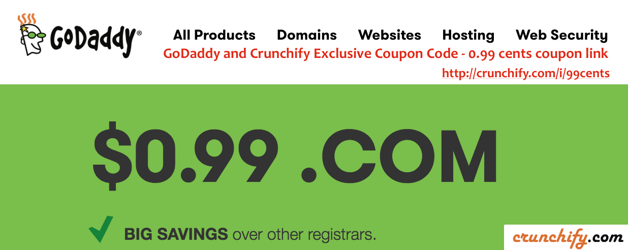 GoDaddy and Crunchify Exclusive Coupon Code - 0.99 cents coupon link