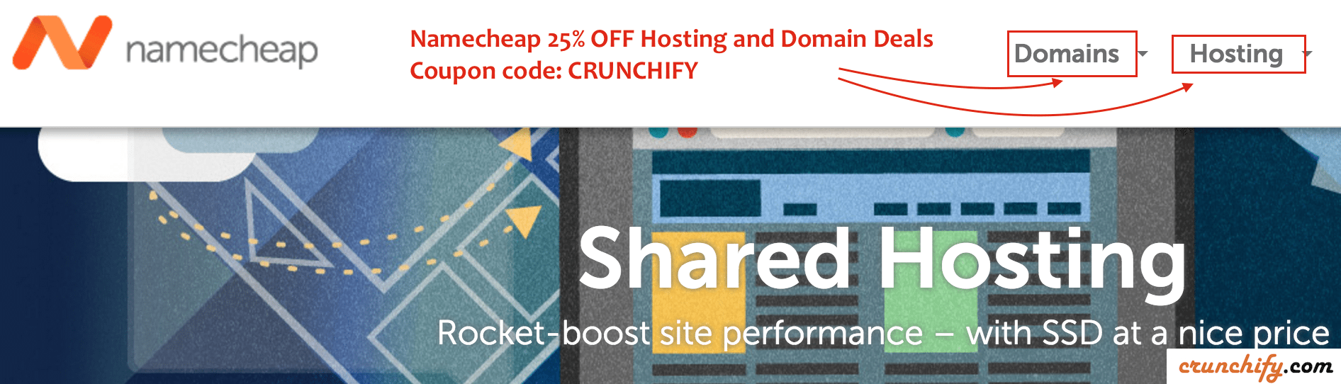 Namecheap Hosting and Domain Deals - Coupon code- CRUNCHIFY