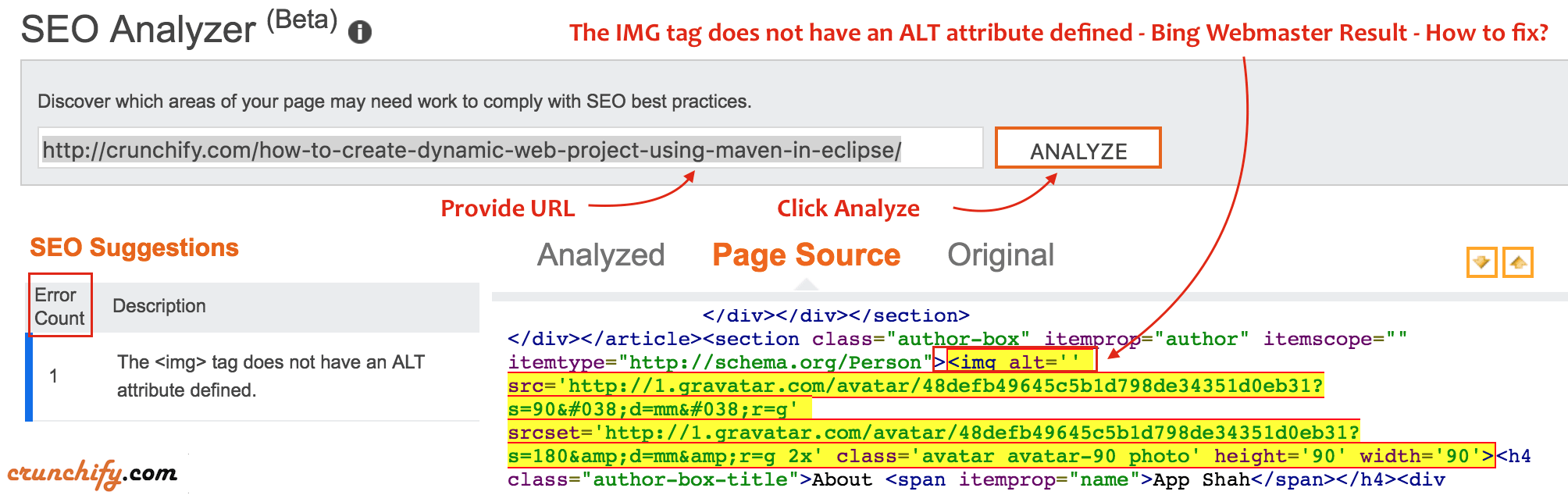 The IMG tag does not have an ALT attribute defined - Bing Webmaster Result - How to fix