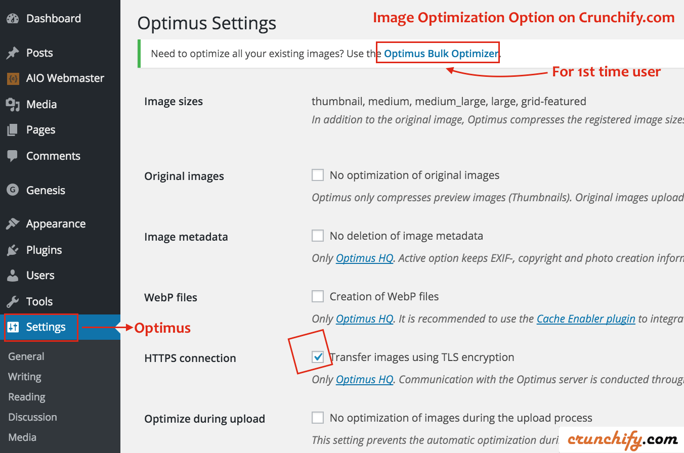 These are our settings at Crunchify.com for Optimus Image Optimizer Plugin