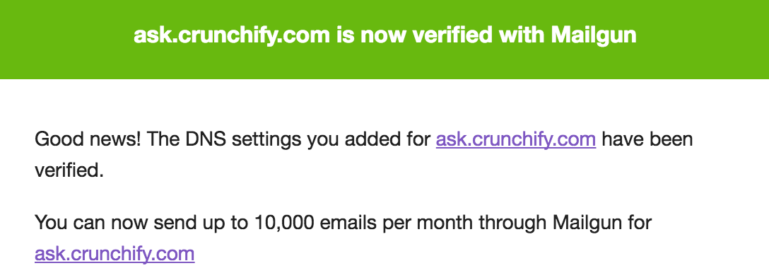 ask.crunchify.com is now verifided domain with Mailgun