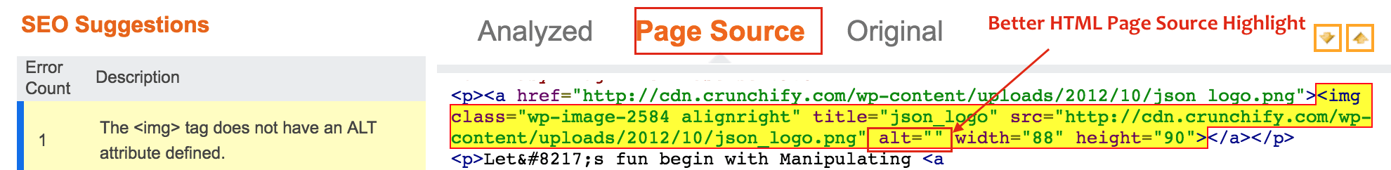 The tag does not have an ALT attribute defined - Better Highlight in Source Code