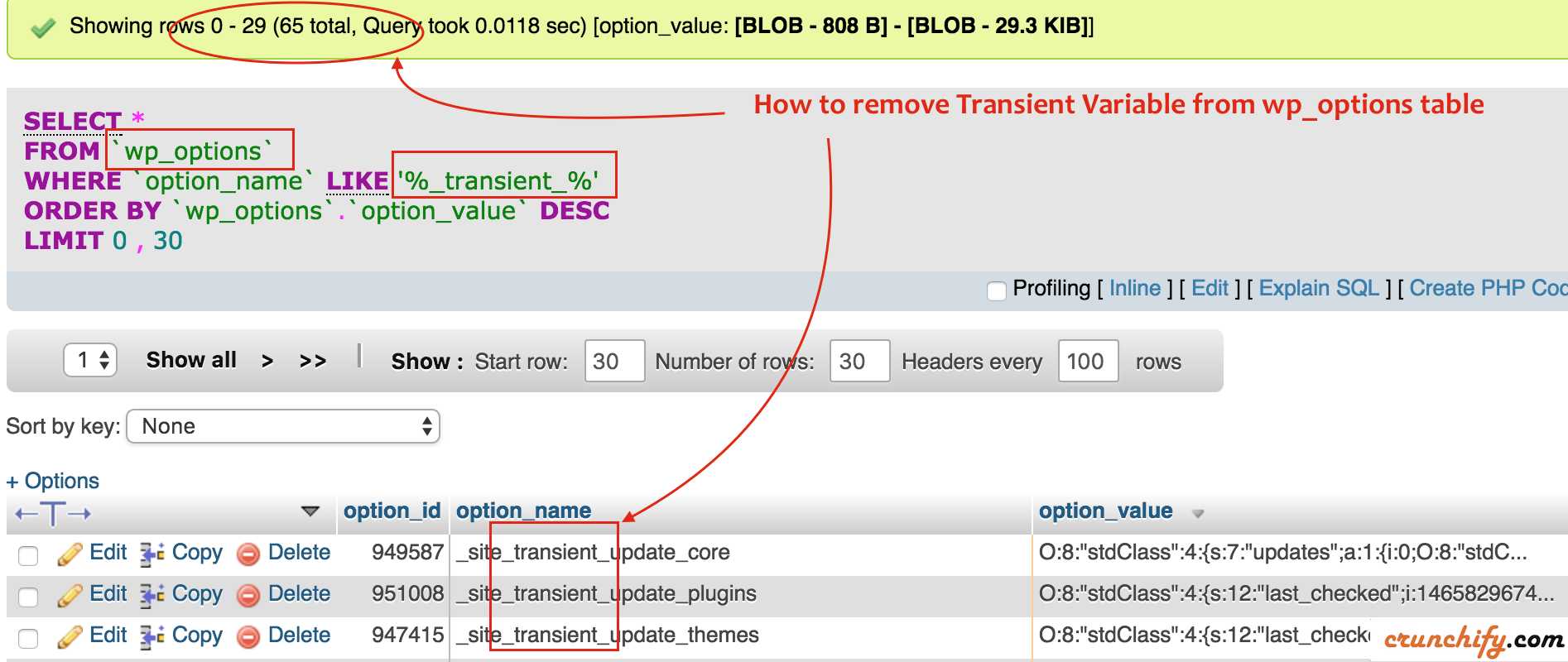 How to remove Transient Variable from wp_options table - Crunchify Tips