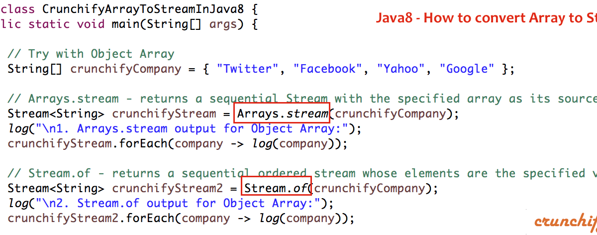 In Java8 – How to Convert Array to Stream using Arrays.stream() and Stream.of() Operations