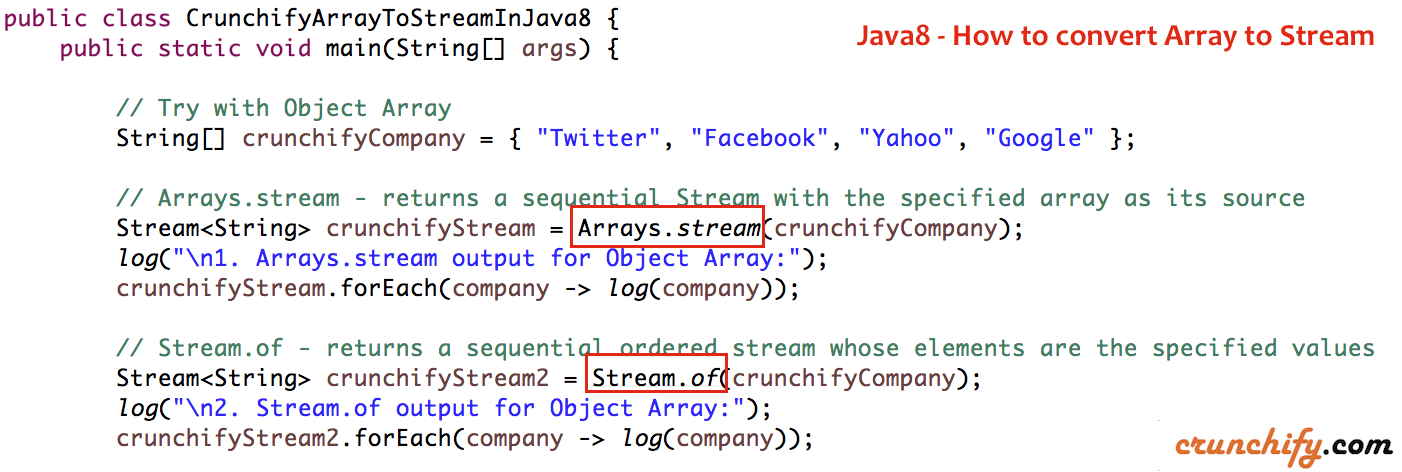 Java8 - How to convert Array to Stream - Crunchify Tips
