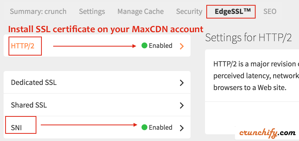 Install SSL certificate on your MaxCDN account